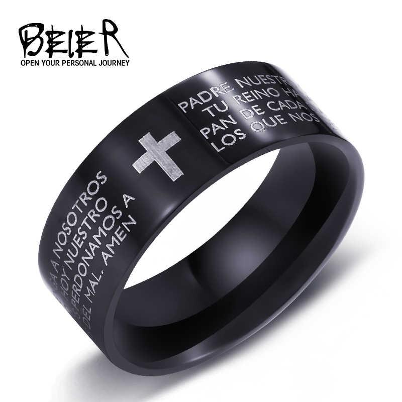 Beier 316Lสแตนเลสสีดำข้ามแหวนออกแบบคลาสสิกพระคัมภีร์ไบเบิลสำหรับชายและหญิงเครื่องประดับแฟชั่นBR-R052