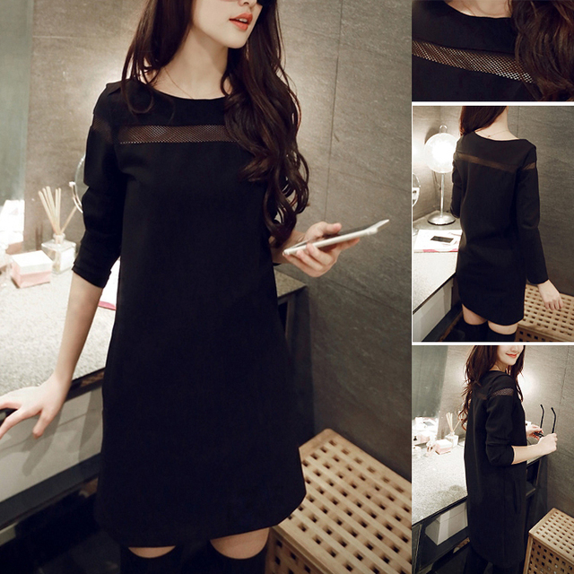2015 New Style Long Sleeve Women's Hollow Out Dress Mesh Casual Ladies Winter Dress Plus Size   Black,Wine Red S-XXL