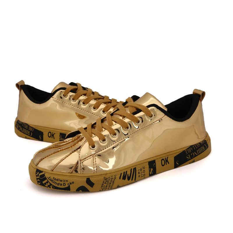 2018 Новое поступление из искусственной кожи Скейтбординг обувь для Для мужчин Для женщин легкий и износостойкие цвета: золотистый, серебристый кроссовки Большие размеры 36–46