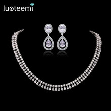 LUOTEEMI Luxury Elegant Bridal Necklace Shining Clear CZ Stone with White Gold-Color Jewelry for Women Wedding Accessories