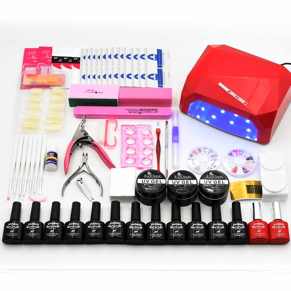 12 Colors Nail Gel Polish Manicure Set 36W LED Lamp Nail Dryer Nail Art Set uv Build Gel Varnish Manicure Tools for Nail Set kit new 24w professional uv led nail gel 9c lamp of resurrection nail polish tools and portable five soaked nail gel art set
