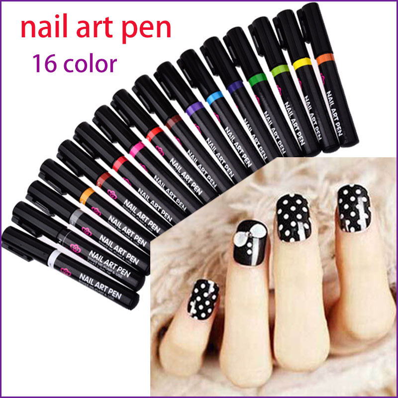 16 Colors Nail Art Pen for 3D Nail Art DIY Decoration Nail Polish ...
