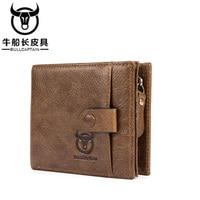 BULLCAPTAIN Men Genuine Leather Wallet Small Zipper Men Walet Portomonee Male Short Coin Mini Male Purses Card Holder Wallet