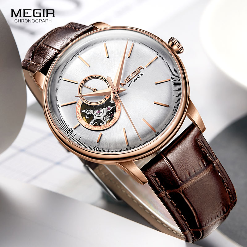 MEGIR Hommes de Mode Casual Montres Mécaniques Bracelet En Cuir Simple D'affaires Analogique Montre-Bracelet pour Homme Or Rose 62057 GREBN