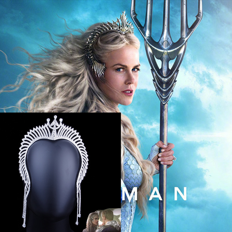 Queen Atlanna Mera Movie Aquaman Cosplay Accessories Women Girls jewelry Rhinestone Trident Crown Long Tassel Luxurious   Headwear