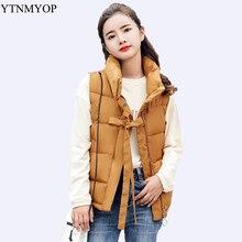 YTNMYOP, женский зимний жилет, хлопковый, тонкий, модный, верхняя одежда, без рукавов, куртка, пальто, Одноцветный, студенческий, уплотненный, теплый жилет