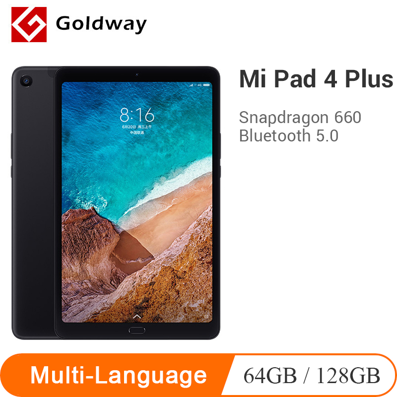 Multi-language Xiaomi Mi Pad 4 Plus 64GB/128GB Tablets 4 Snapdragon 660 AIE 8620mAh 10.1'' 16:10 1920x1200 Screen 13MP Mi Pad 4(Hong Kong,China)