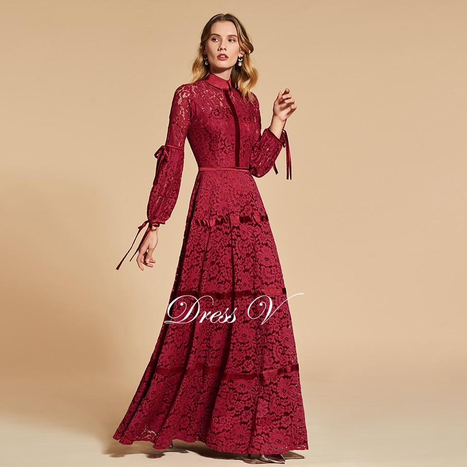 Dressv elegante maniche lunghe abito da sera smerlato bordo neck tromba da  sposa in pizzo del vestito da partito convenzionale vestiti da sera ... d275aa9128d