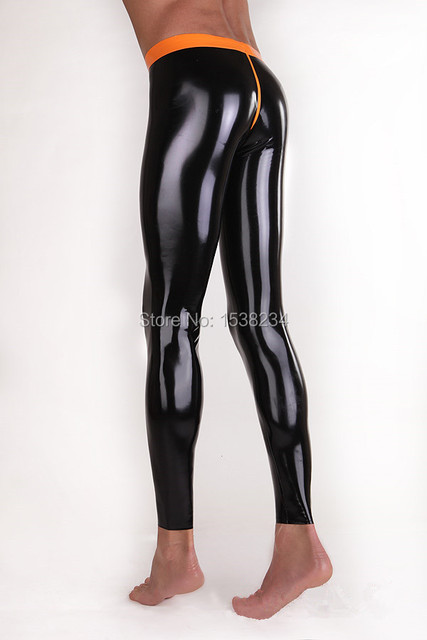 Latex Leggings Men's Sexy Skinny Rubber Trousers Crotch Zipper Latex Trousers With Trims Two-way Zip Plus Size