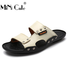 2017 Nouvelle Mode Flip Flops Hommes Véritable de Vache En Cuir Sandales Plage Pantoufle Mâle D'été de Haute Qualité À L'extérieur Non-Slip Chaussures diapositives