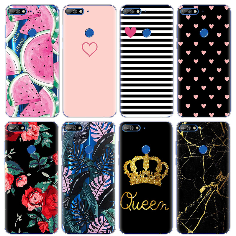Ultra Thin Flower TPU for <font><b>Huawei</b></font> <font><b>Y7</b></font> <font><b>2018</b></font> <font><b>Case</b></font> Rubber <font><b>Silicone</b></font> Transparent Back for <font><b>Huawei</b></font> <font><b>Y7</b></font> Prime <font><b>2018</b></font> <font><b>Case</b></font> Print Coque Cover image