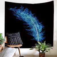 Creative style Tapestry blue Feathers Home Decorations Wall Hanging comfortable Black bottom beach picnic for party Tapestry