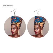 60cm Natural Wood African Beauty Black Queen Rock Africa Earrings Women Vintage Party Afro Jewelry Retro Wooden DIY Accessory