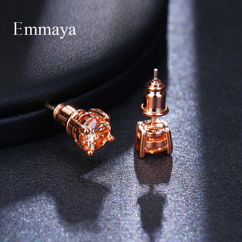 Женские серьги в форме дерева Emmaya, простые серьги из трех цветов с фианитом класса ААА, свадебные подарки, популярные ювелирные изделия