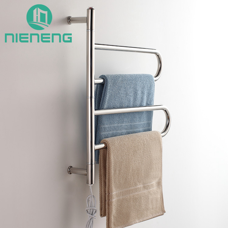 Nieneng Towel Warmers Rotary Electric Bathroom Towel Racks 304 Stainless Steel Rails Heating Towel Bars Furniture ICD60588 hotel decoration 304 stainless steel electric heating towel racks house furniture fitment appliance heating towel rack icd60048