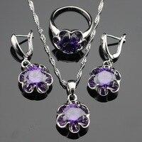 Flower Purple Amethyst 925 Silver Jewelry Sets For Women Silver Earrings Pendant Necklace Rings Free Jewelry