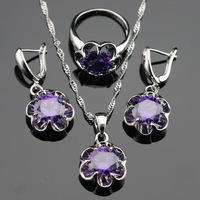 Flower Purple Amethyst 925 Silver Jewelry Sets For Women Silver Earrings Pendant Necklace Rings Free Jewelry