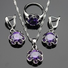 WPAITKYS Flower Purple Cubic Zirconia Silver Color Jewelry Sets For Women Earrings Pendant Necklace Rings Free Gift Box