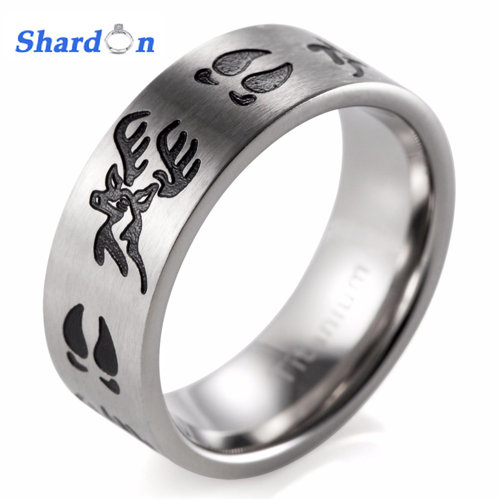 Titanium Black Deer Head&Tracks Ring Men jewelry Outdoor wedding band