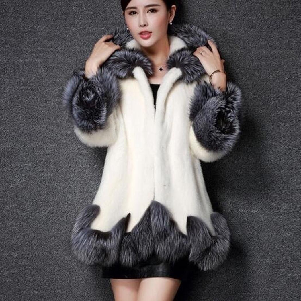 Fur Coat Winter Women Luxury Long Women Fashion Button Fur Collar Hooded Medium Fur Casual Winter Coat