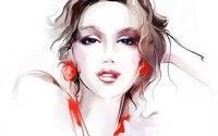 Tatiana Nikitina Girl Eyes Face Makeup Eyes Hair Earrings Red Hand Home Decoration Canvas Poster