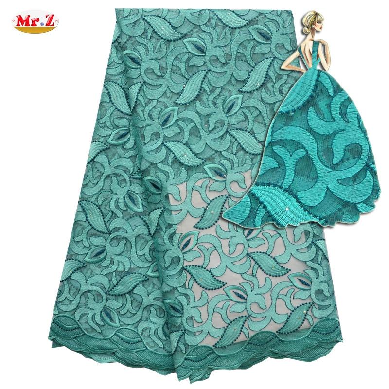高质量的尼日利亚花边织物2016石裔法国网蕾丝面料绣花薄纱网眼花边织物