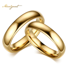 Meaeguet Tungsten Carbide Wedding Rings For Couple Gold Color For Women Men Vintage Lover's Jewelry