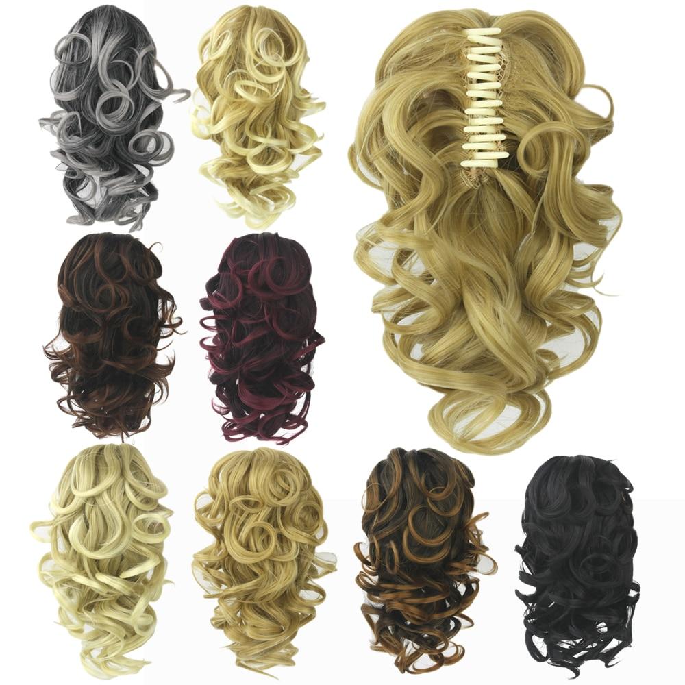 Soowee 8 цветов вьющиеся высокотемпературные синтетические волосы конский хвост шиньон блонд серый зажим для наращивания волос коготь конски...