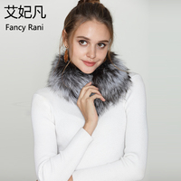 2018 Fashion Warm 100% Real Fox Fur Scarf Women Fox Fur Collar Ring Scarf Genuine Natural Fur Sliver Fox Fur Scarves Collar 50CM
