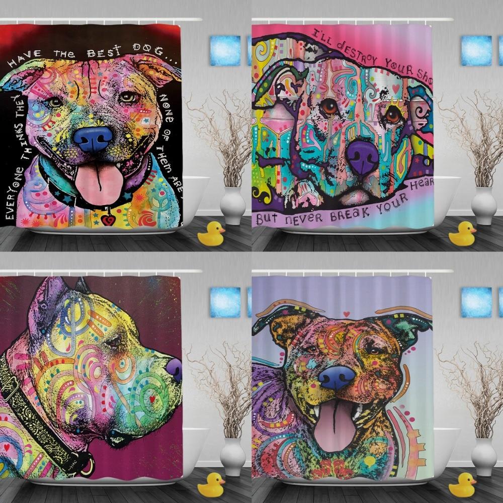 Cortinas de ducha divertidas para mascotas Pitbull Cortina de baño - Bienes para el hogar
