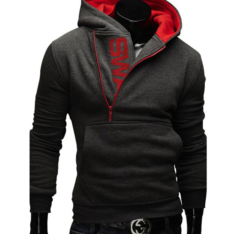 Side Zipper Hoodies Men Cotton Sweatshirt Spring Letter Print Sportswear Slim Pullover Tracksuit Hip Hop Street wear 22