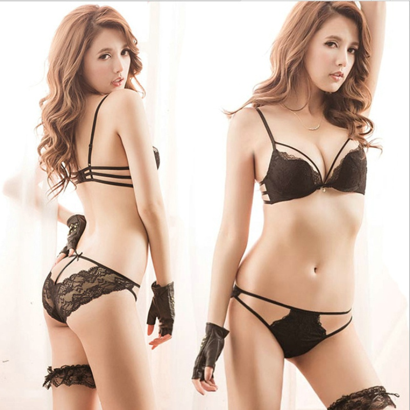 9d96d7afad582 Japanese Beautiful Back Lace Sexy Bra Set Push Up Up Thick Under Thin Cup Underwear  Women