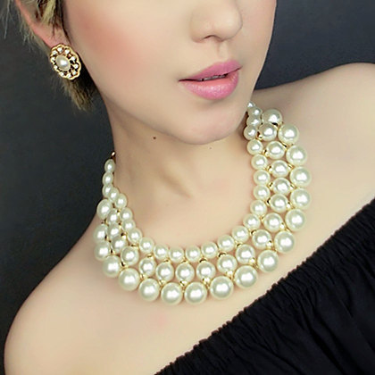 Wholesale 2017 New Fashion Pearl Jewelry Charm Luxury Multilayer Pearl Necklace For Women Statement Chunky Collar Necklace JJ51