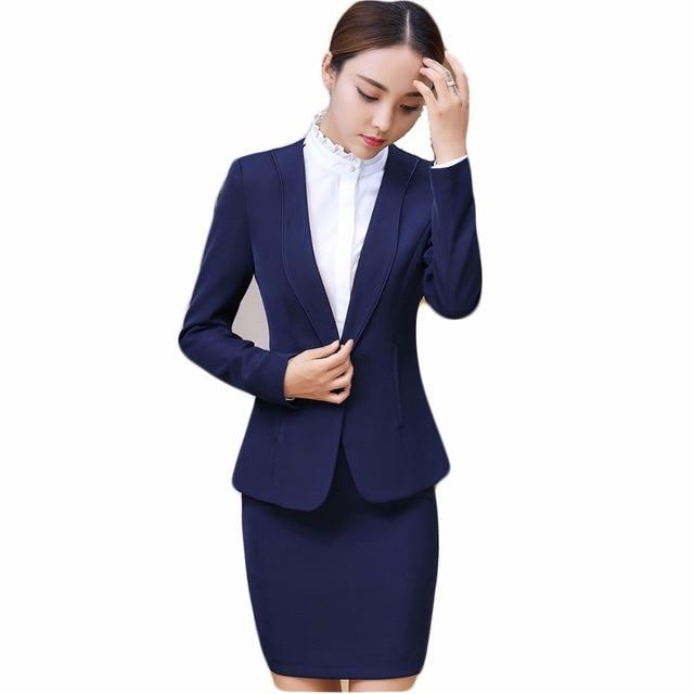 061b25c39ea Новые 2018 женские деловые костюмы женские элегантные офисные едином стиле  синяя юбка костюм женский Работа Костюмы