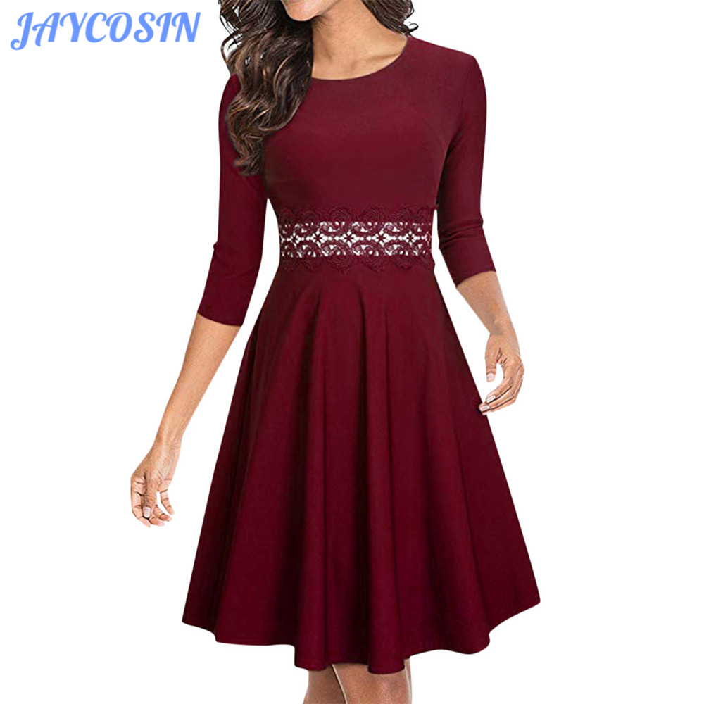 Womens Ladies Printed Long Sleeve Swing Dress Midi Skater A-Line Flared Party