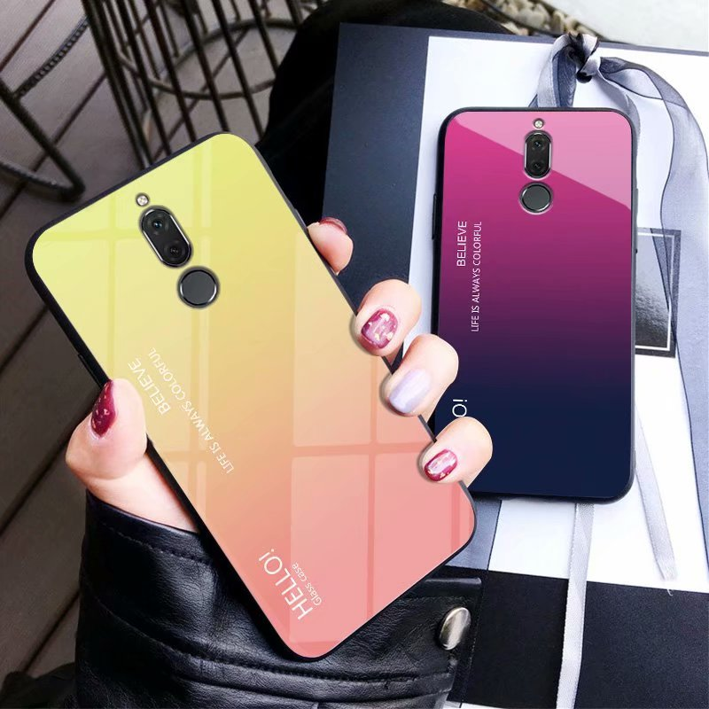 For honor 9i Nova 2i Case Luxury Tempered Glass Silicone Frame Fashion Gradient Protective Back Cover For Huawei Mate 10 Lite