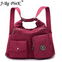 J BG PinK New Waterproof Women Bag Double Shoulder Bag Designer Handbags High Quality Nylon Female