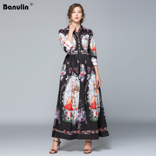 Banulin Fashion Designer Runway Dress Summer Women 3/4 sleeve Floral Print V-Neck Slim Vintage Elegant Maxi Black Dresses