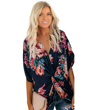 womens tops and blouses plus size woman white blouse fashion 2019 korean top casual floral v-neck batwing sleeve streetwear plus mock neck floral and grid top
