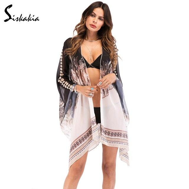 Siskakia Бикини Cover Up шифон кардиган кимоно пальто женские большие размеры Beach Sunproof Длинные Блузки Лето 2018 богемной печати