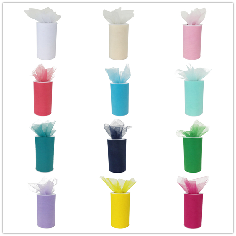 (1 roll) 6inch*25Yards DIY Fabric Tulle Spools and Rolls Wedding Birthday Celebration Holiday Party Supplies