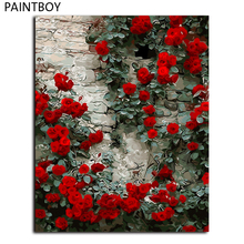 framed picture red flower home decor diy painting by numbers digital canvas oil painting wall art for living room gx4541 - Painting Walls Red