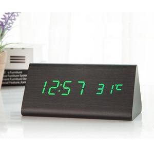 Image 3 - מעורר דיגיטלי שעון שולחני עץ LED שעונים זוהר בחושך שליטת קול אלקטרוני תצוגת מדחום בית תפאורה מתנה