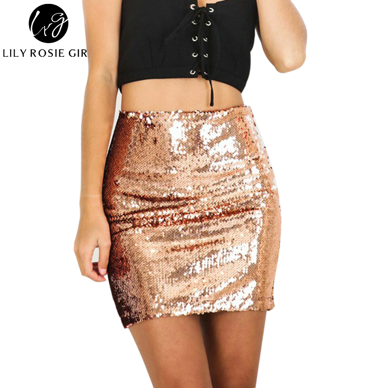 Sexy Club Gold Sequin Mini Skirts Womens 2016 Christmas Pencil High Waist Skirt Zipper Casual Short Party Beach Black Skirt Платье
