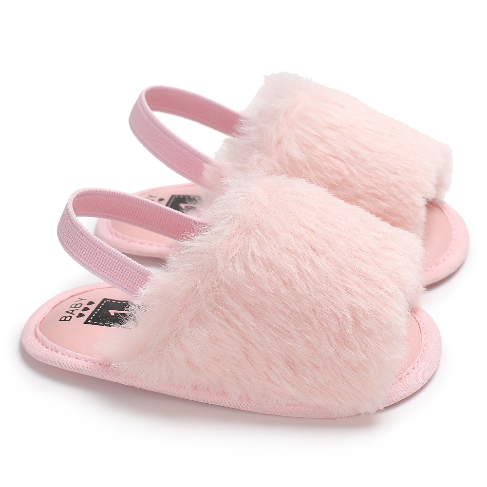 Baby Summer Fashion Faux Fur Shoes Cute Infant Baby Sandals soft sole baby girls and boys Slippers indoor baby sandals