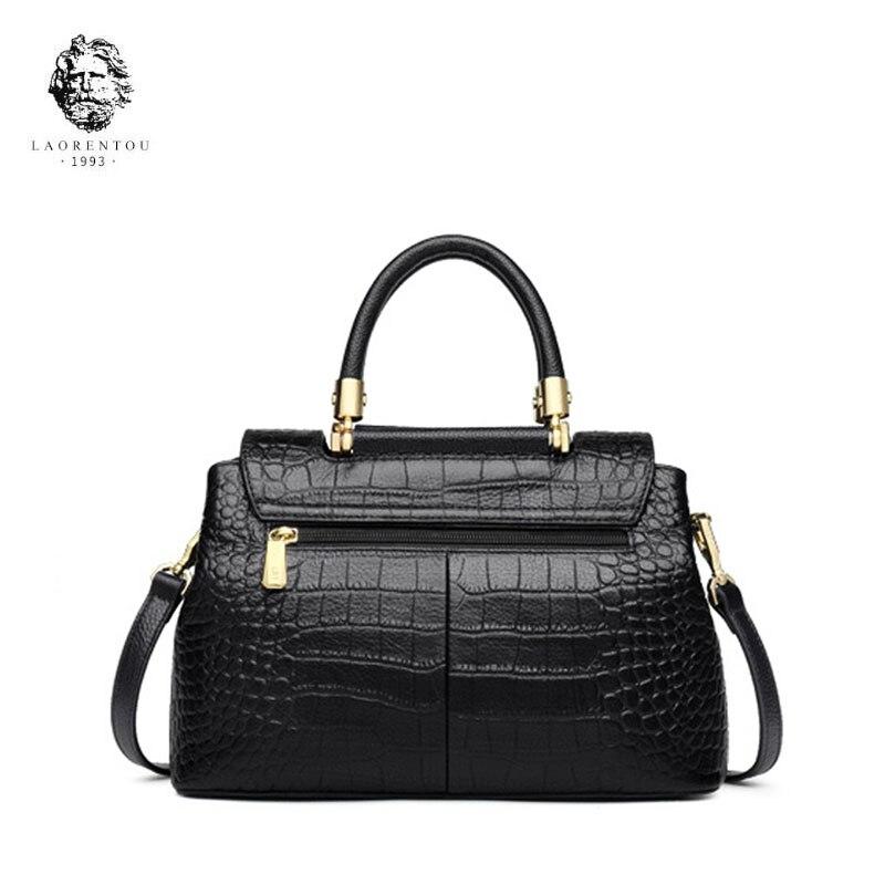 Sac Nouvelles Luxe Fourre Mode Main Femmes À Grain Véritable Cuir Sacs 2019 Laorentou tout De En Black Designer Crocodile 5qwgATTp
