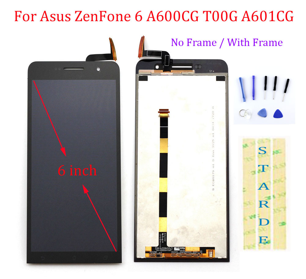 STARDE Replacement LCD For <font><b>Asus</b></font> ZenFone 6 A600CG <font><b>T00G</b></font> A601CG LCD Display Touch Screen Digitizer Assembly Frame 6