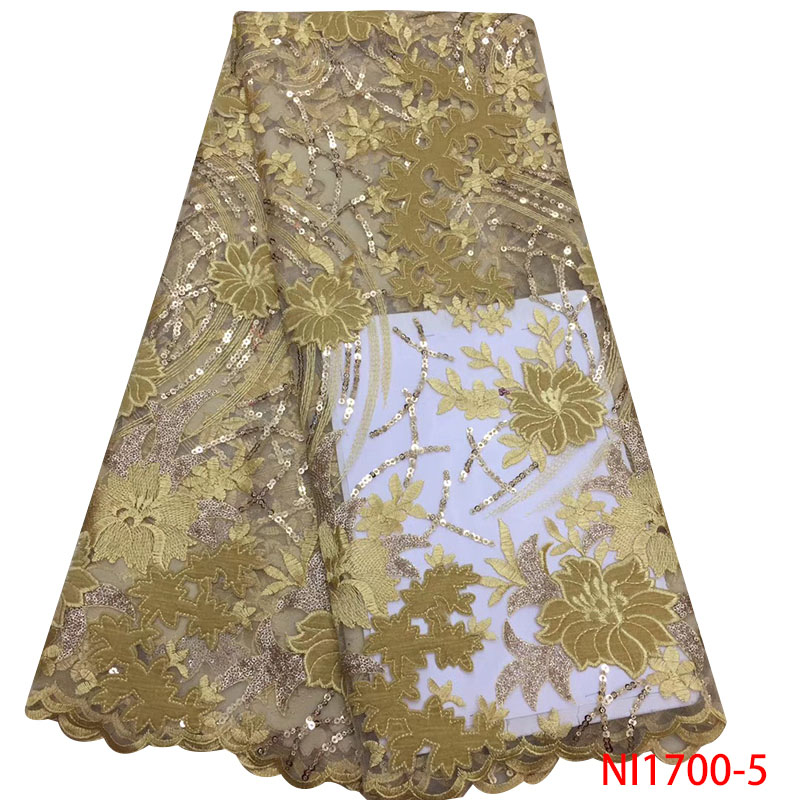 African Lace Fabric 2019 High Quality French Tulle Fabric Lace Nigerian Laces Fabrics Embroidery With Sequins KSNI1700-5