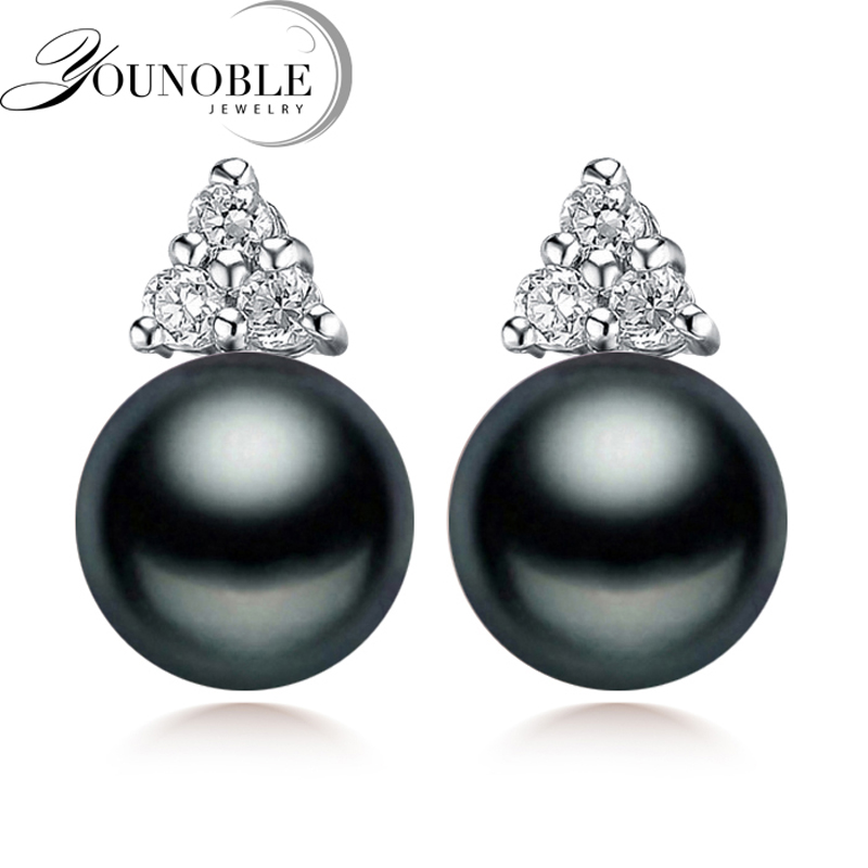 100% genuine black pearl earrings for women