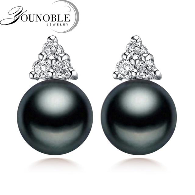 100% genuine black pearl earrings for women real freshwater pearl earring silver